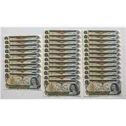 Bank of Canada $1, 1973 - Lot of 33 Consecutives