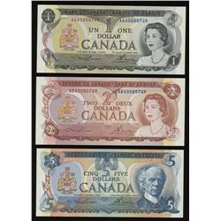 1969-1979 Bank of Canada Multi-colour Matching Low Serial Number Set #749