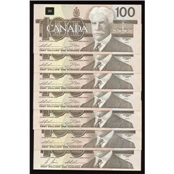 Bank of Canada $100, 1988 - Lot of 7 Notes