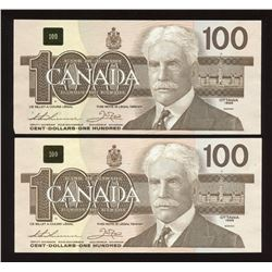 Bank of Canada $100, 1988 - Lot of 2 Notes