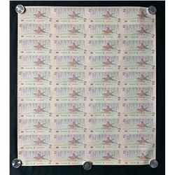 1986 Bank of Canada $2 Banknote Sheet of Uncut 40 Notes - 4X10 Format EGU Prefix