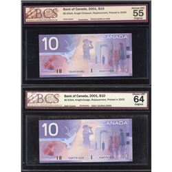 Bank of Canada $10, 2001 - Lot of 2 Replacements