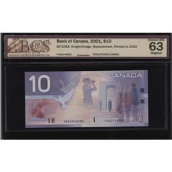 Bank of Canada $10, 2001 - Replacement Note
