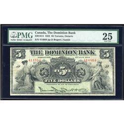 Dominion Bank $5, 1925