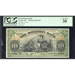 Dominion Bank $10, 1910