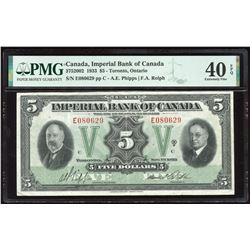 Imperial Bank of Canada $5, 1933