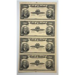 Bank of Montreal $20, 1904 Proof Sheet of 4 Banknotes