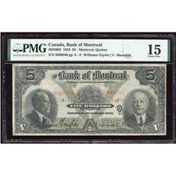 Bank of Montreal $5, 1923