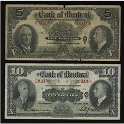 Bank of Montreal $5 & $10, 1938 - Lot