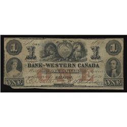 Bank of Western Canada $1, 1859