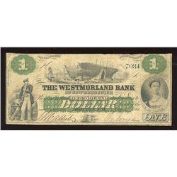 Westmorland Bank $1, 1861