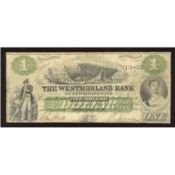 Westmorland Bank $1, 1861 - Trites Signature