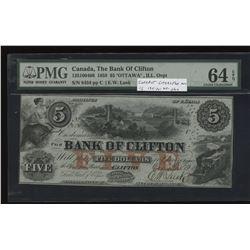 "Bank of Clifton $5, 1859 - ""Ottawa"" O/P"