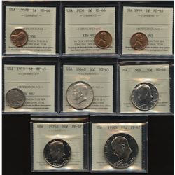 USA ICCS Graded Coins Lot of 8