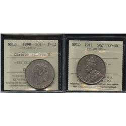 Newfoundland Fifty Cents ICCS Graded Lot of 2