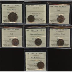 One Cent ICCS Graded Lot of 7