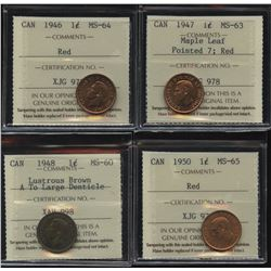 One Cent ICCS Graded Lot of 4