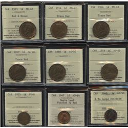 One Cent ICCS Graded Lot of 9