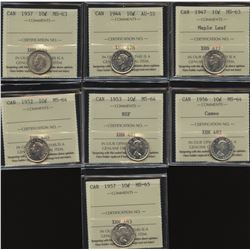 Ten Cents ICCS Graded Lot of 7