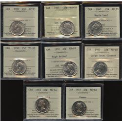 Twenty-Five Cents ICCS Graded Lot of 8
