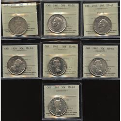 Fifty Cents ICCS Graded Lot of 7