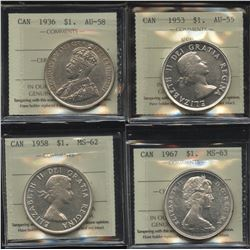 Silver Dollar ICCS Graded Lot of 4