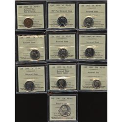Lot of 10 ICCS Graded Coins with Rotated Dies