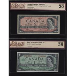 Lot of 11 BCS Graded Banknotes