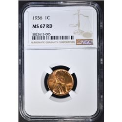 1936 LINCOLN  CENT, NGC MS-67 RED