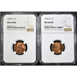 1944-D&S LINCOLN CENTS, NGC MS-66 RED