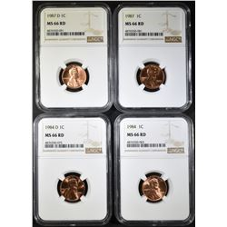1984, 84-D, 87, 87-D LINCOLN CENTS, NGC MS-66 RED