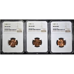 1987, 88-P&D LINCOLN CENTS, NGC MS-66 RED