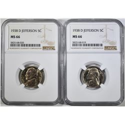 2-1938-D JEFFERSON NICKLES, NGC MS-66