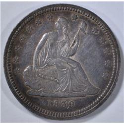 1839 NO DRAPERY SEATED QUARTER, AU