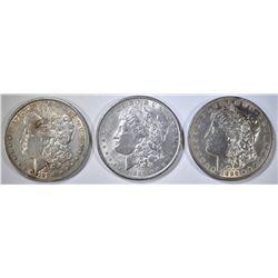 1889, 90 & 96 MORGAN DOLLARS, AU+