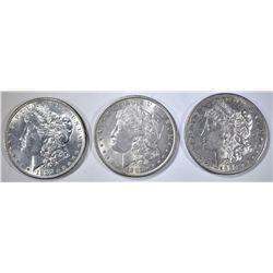 1882-S & 2-87 MORGAN DOLLARS, AU/BU