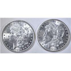 1890 & 97 MORGAN DOLLARS, CH BU