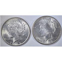 1922 & 23 PEACE DOLLARS, CH BU