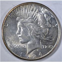 1924-S PEACE DOLLAR, AU/BU