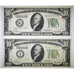 (2) 1928-B $10 FEDERAL RESERVE NOTES:
