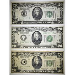(3) 1928-A $20 FEDERAL RESERVE NOTES: