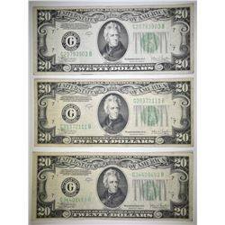 (3) 1934-C $20 FEDERAL RESERVE NOTES  VF-XF