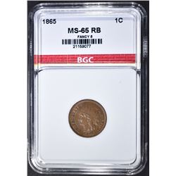 1865 INDIAN CENT  BGC GEM BU RB