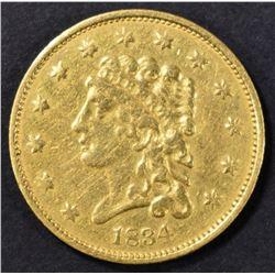 1834 $2.5 GOLD CLASSIC HEAD CH XF/AU