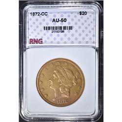 1872-CC $20 GOLD LIBERTY  RNG AU