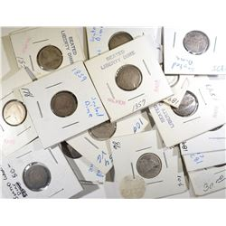 17 SEATED LIBERTY DIMES MIXED DATES