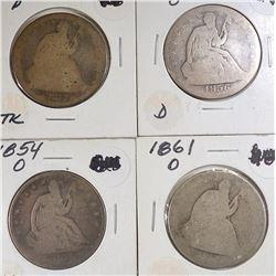 1854-O, 56-O, 61-O, 73 SEATED LIBERTY HALVES AG/G
