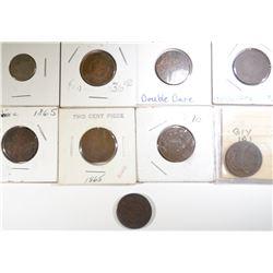 8 2 CENT PIECES & 1866 3 CENT NICKEL