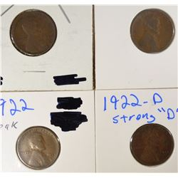 1909-S FINE, 3 1922-D LINCOLN CENTS