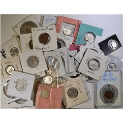 MIXED LOT, SILVER COINS, FOREIGN, MISC.